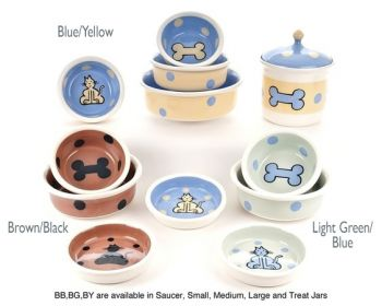 Boneware design dog and cat bowls from Petware pottery