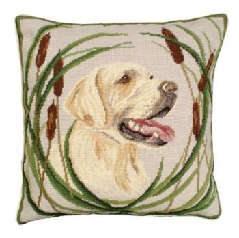 Boomer is a needlepoint pillow of a yellow lab by Michaellian Home
