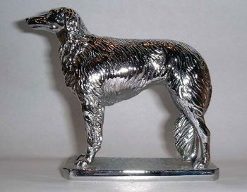Borzoi Hood Ornament or Car Mascot by Louis Lejeune comes in chrome, bronze, enamel or gold plated