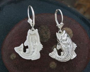 Striped Bass silver dangle earrings