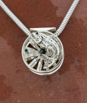 Bow Spokes sterling silver 20 mm pendant by Tight Lines Jewelry