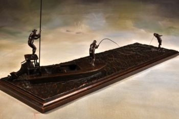 Bow to the King is a tarpon fishing bronze sculpture by Liz Lewis