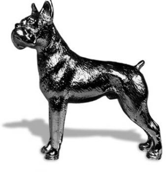 Boxer with Ears Clipped Hood Ornament or Car Mascot by Louis Lejeune comes in chrome, bronze, enamel or gold plated