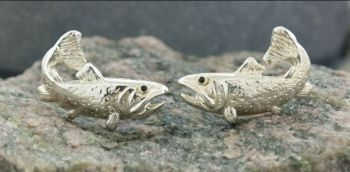 Brook Trout Sterling Silver Cufflinks by Tight Lines Jewelry