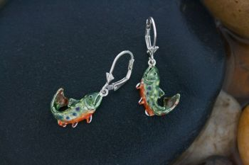 Brook Trout Hand-Painted enameled silver jewelry by Tight Lines Jewerly