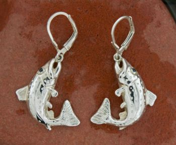 Brown Trout Dangle Earrings by Trout Lines Jewelry