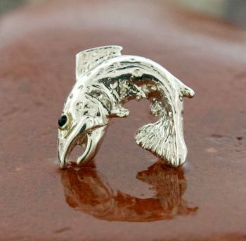Brown Trout Lapel Pin Tie Tack Sterling Silver by Tight Lines Jewerly