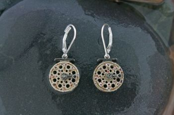 Brown Trout Skin Dangle Fly Reel Earrings by Tight Lines Jewelry