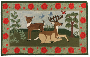 Buck and Doe is a hand-hooked rug by Michaelian Home