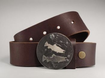 Buck and Hen Salmon Belt buckle by Tyger Forge
