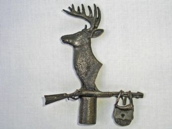 Buck Head with Muzzle Loader Pewter Lamp Finial by Sid Bell Originals