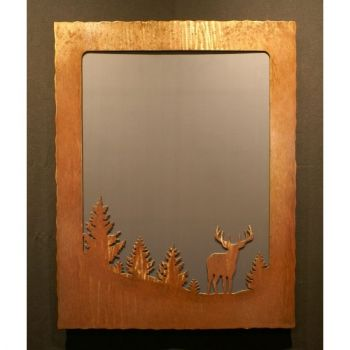 Buck scene rustic framed mirror by Steel Appeal