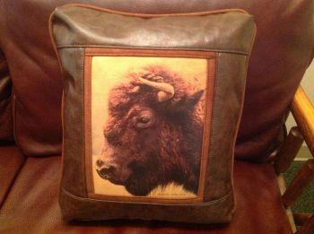 Buffalo Head Leather Pillow