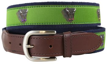 Buffalo in Bow Ties Leather Tab Belt by Belted Cow