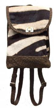 Burchell Zebra and Black Cape Buffalo Hide Mini Backpack