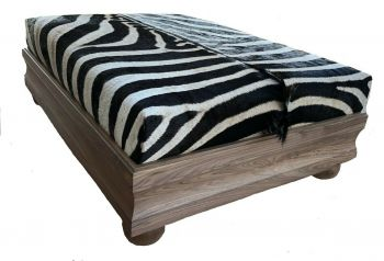 Burchell Zebra Hide Ottoman With Custom Solid Wood Base