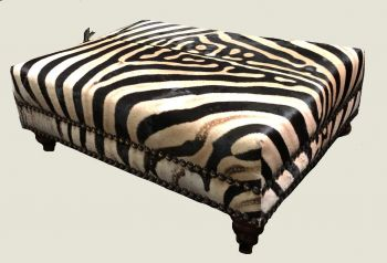 Burchell Zebra Hide Ottoman With Decorative Nailhead Detail