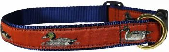 Burnt sienna ducks design dog collar by Belted Cow