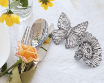 Butterfly and Flower Napkin Rings - Arthur Court