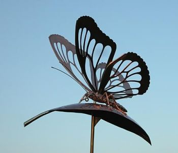 Butterfly on Milkweed Copper Weathervane by Barry Norling