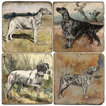 Watercolor Dogs paintings Italian Marble Coasters and Accessories