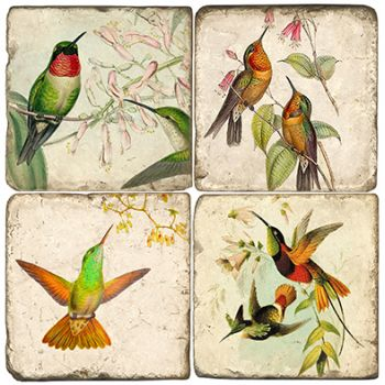 Hummingbirds Italian Marble Coasters and Giftware