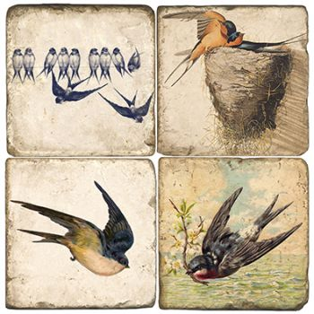 Swallows Italian Marble Coasters and Giftware