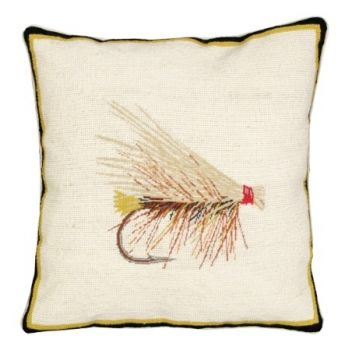 Caddis Fly is a needlepoint pillow by Michaelian Home