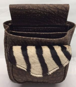 Cape Buffalo and Zebra Hide Deluxe Shotgun Shell Pouch - Brown - Front View