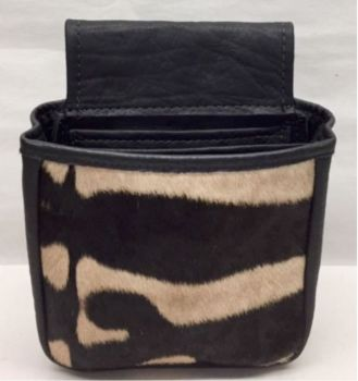 Cape Buffalo and Zebra Hide Shotgun Shell Pouch - Black - Front View