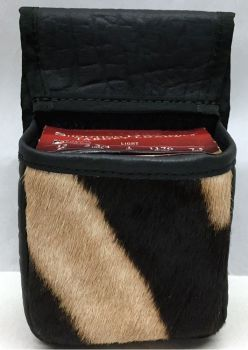 Cape Buffalo Hide and Zebra Hide Trap/Skeet Pouch - Front View