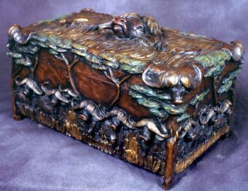 Cape Buffalo box or humador bronze sculpture by Christopher Smith