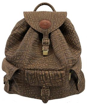 Cape Buffalo Hide Back Pack Brown - front