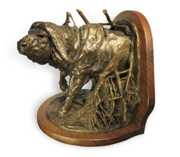 Cape Buffalo Bronze Sculpture Bookend by John Tolmay