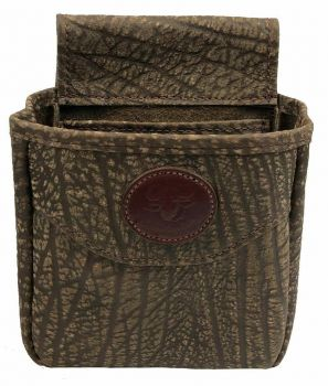 Cape Buffalo Hide Shotgun Shell Pouch Midi Style - with emblem - front