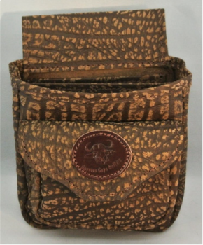 Cape Buffalo Hide Shotgun Shell Pouch Deluxe - Brown - Front