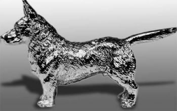Cardigan Welsh Corgi Hood Ornament or Car Mascot by Louis Lejeune comes in chrome, bronze, enamel or gold plated