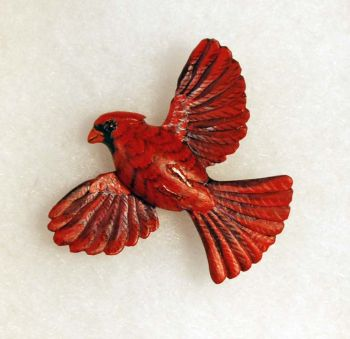 Cardinal Hand-Carved Wood Pin by Dick Cook