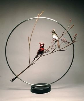 Cardinal Pair - a Bronze and Stainless Steel Sculpture by Don Rambadt