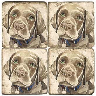 Bill the Chocolate Lab Italian Marble Coasters