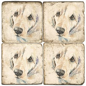 Cleo the Dog Italian Marble Coasters and Accessories