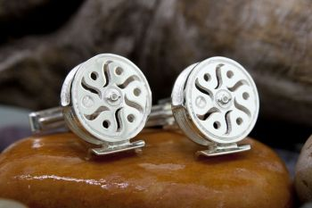 Celestial Sterling Silver Fly Reel Cufflinks by Tight Lines Jewelry
