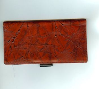 Checkbook Cover and Pen  - Leaf Leather Cover
