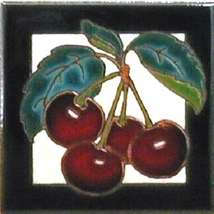 Cherries Ceramic 4 x 4 Tile by Jeanne Maanum