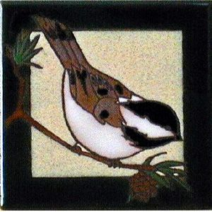 Chickadee Ceramic Tile - 4 x 4 by Maanum