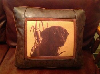 Chocolate Lab Leather Pillow bu Sweetwater Trading Company