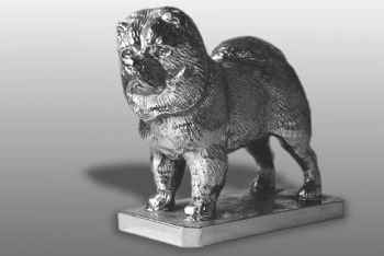 Chow Chow Hood Ornament or Car Mascot by Louis Lejeune comes in chrome, bronze, enamel or gold plated
