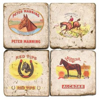 Cigar Horse Italian Marble Coasters