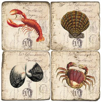 Clam Bake Italian Marble Coasters and Giftware