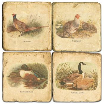 Classic Game Birds Italian Marble Coaster by Studio Vertu